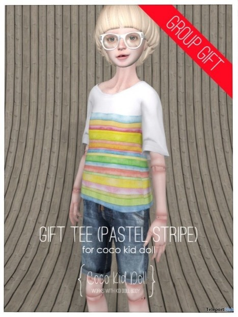 Kid Doll Tee Pastel Stripe Group Gift by COCO Designs | Teleport Hub - Second Life Freebies | Second Life Freebies | Scoop.it