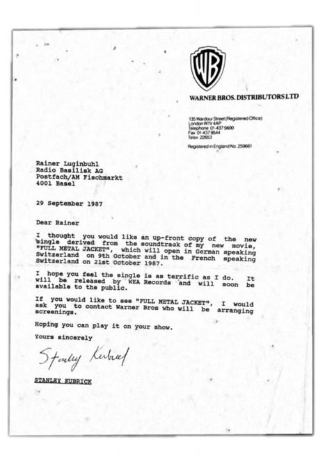 Schatz gefunden! Brief von Stanley Kubrick   Stanley Kubrick   Scoop.it