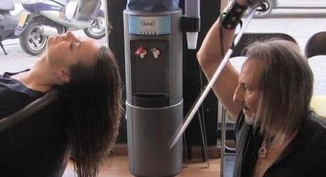 Spanish Hairdresser Cuts Hair with Samurai Swords and a Blowtorch | Strange days indeed... | Scoop.it