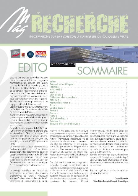 Université Toulouse II-Le Mirail - Mag-Recherche N°25 - Octobre 2013   Actualité des laboratoires du CNRS en Midi-Pyrénées   Scoop.it