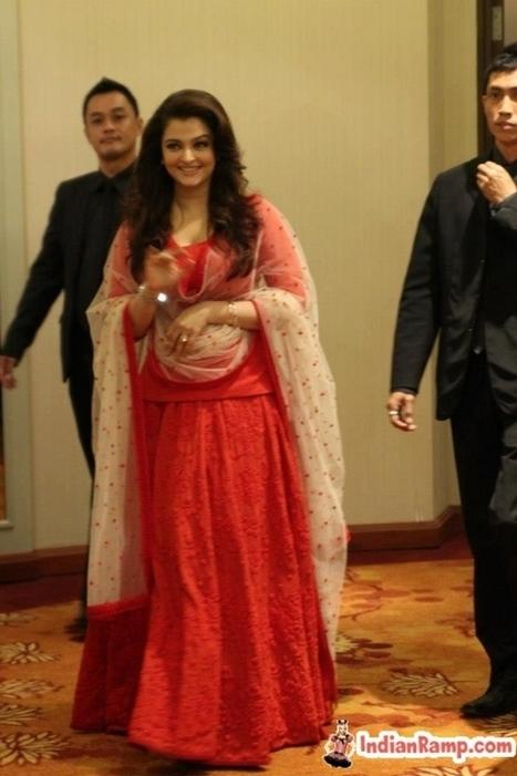 Aishwarya Rai in Chilli Red Ghagra Choli @Longines Singapore   Indian Fashion Updates   Scoop.it