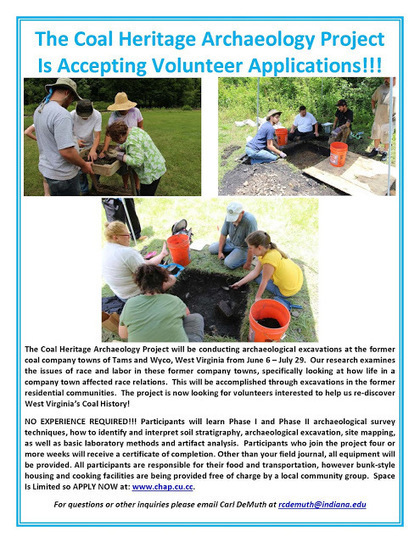USA: The Coal Heritage Archaeology Project, WV looking for Volunteers | Industrial Heritage | Scoop.it
