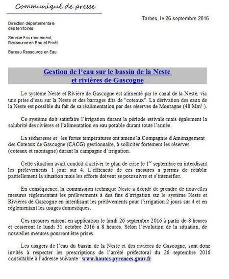 Sécheresse: nouvelles restrictions sur le bassin de la Neste et rivières de Gascogne | Vallée d'Aure - Pyrénées | Scoop.it