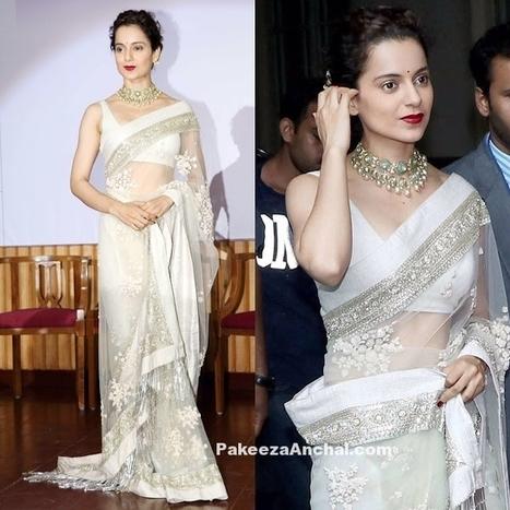 Kangana Ranaut in Sheer Embroidered Sabyasachi Saree | Indian Fashion Updates | Scoop.it