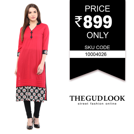 Red #Embroidered # Bottom # Kurti # Shop# From www.thegudlook.com | Street Fashion is what thegudlook.com promises to bring to you Online every day week after week. | Scoop.it