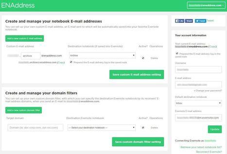 ENAddress, utiliser des adresses mails multiples dans Evernote - Les Outils Numériques | Evernote, gestion de l'information numérique | Scoop.it