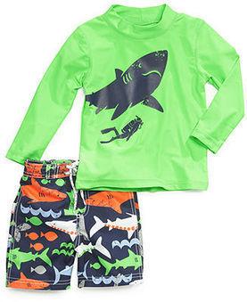 Carter's Little Boys' Shark Rashguard & Swim Trunks - Kids Swimwear - Macy's | kid dress | Scoop.it
