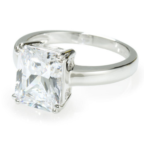 Emerald Cut Solitaire Ring with 3.79 carat Brillianite. 925 Sterling Silver. Comfort Fit.   Jewelry Trends   Scoop.it