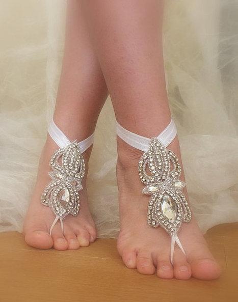 Rhinestone anklet,  Beach wedding barefoot sandals,  Barefoot Sandals, Sexy, Yoga, Anklet , Bellydance, Steampunk, Beach Pool | wedding gloves | Scoop.it