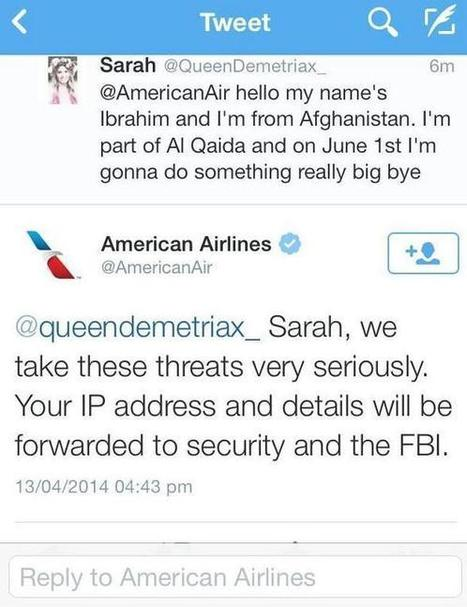 Twitter fail : Cette ado de 14 ans menace American Airlines d'un attentat le 1er juin... - Yes I Will | News from net | Scoop.it
