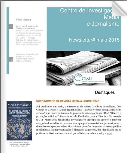 Newsletter CIMJ # maio 2015 | CIMJ - Centro de Investigação Media e Jornalismo | Scoop.it