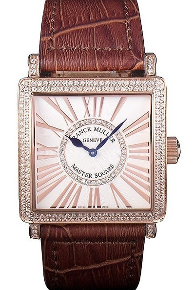 Replica Franck Muller Master Square Diamond Encrusted Rose Gold Bezel Watch | Men's & Women's Replica Watches Collection Online | Scoop.it