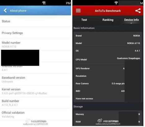 Nokia A110 'Normandy' to Run 5 MP Cam, 854 x 480 display, and Android KitKat 4.4.1. | NokiaTips | Scoop.it