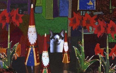 Cat Christmas Cards: George And Santas | Deborah Julian Art | Christmas Cat Ornaments and Cards | Scoop.it