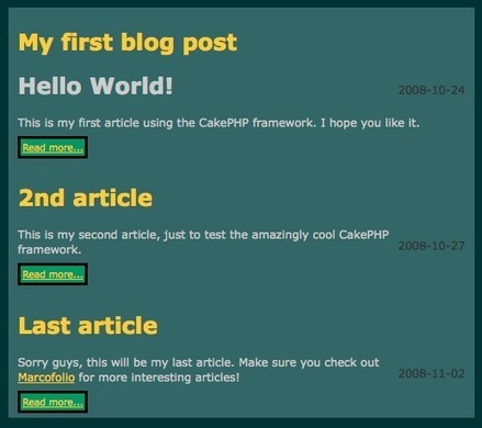 How to create a simple blog with CakePHP - Part 1: Getting started | CakePHP Development | Scoop.it