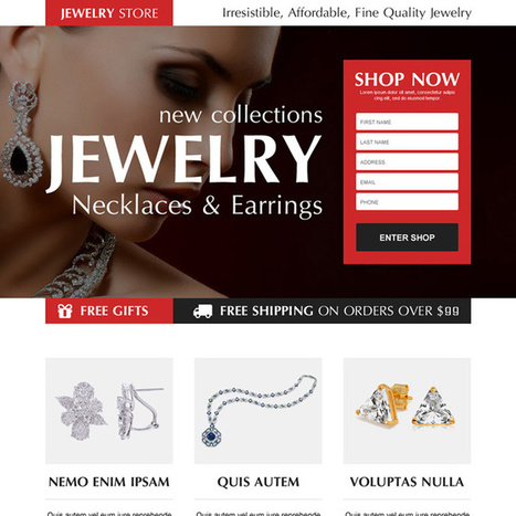 necklace and earrings jewelry store order now lead capture landing page design | converting and effective landing page designs | Scoop.it