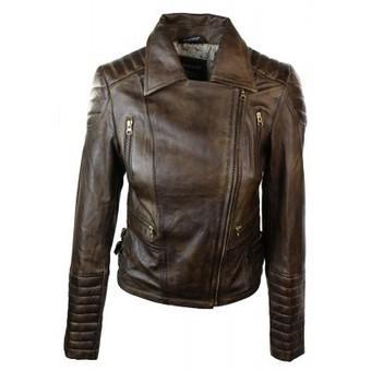Ladies Women Genuine Leather Biker Retro Jacket Brown | Womens Clothing | Scoop.it