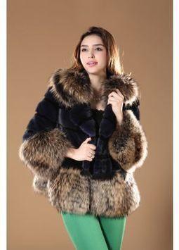 Women's Furs :: Fur Jackets :: Mink :: Raccoon Fur Hooded Horizontal Mink Jacket With Raccoon Fur Trim - | furs | Scoop.it