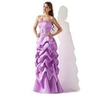 [€ 125.89] Vestidos princesa/ Formato A Sem Alças Chá comprimento Cetim Vestido de madrinha com Pregueado Bordado (007001818) | fashion dress | Scoop.it