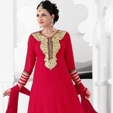Red Faux Georgette Salwar Kameez | Strollay.com | Scoop.it
