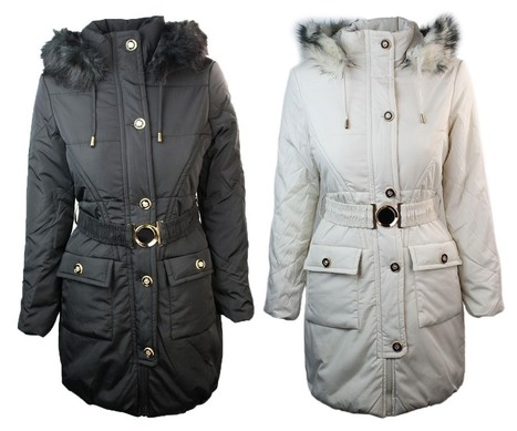 Ladies Winter Quilted Black Off White Warm Puffer Parker Jacket Hooded | Womens Clothing | Scoop.it