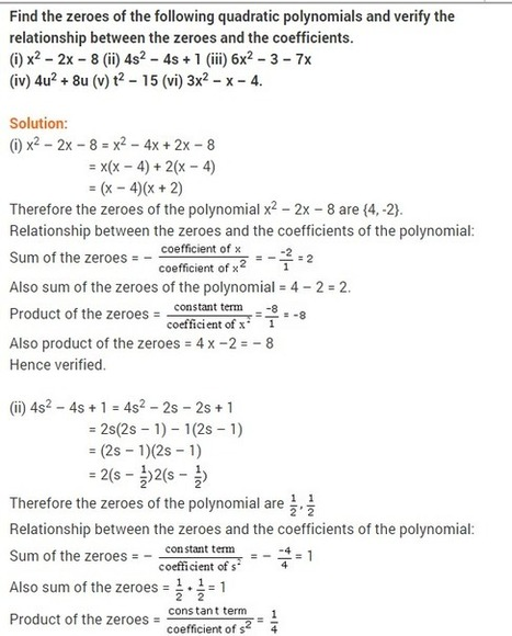 NCERT Solutions For Class 10 Maths Polynomials | RD Sharma Solutions for class 9 | Scoop.it
