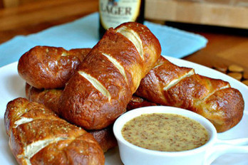 Homemade Soft Pretzel Sticks & Honey Mustard Di...
