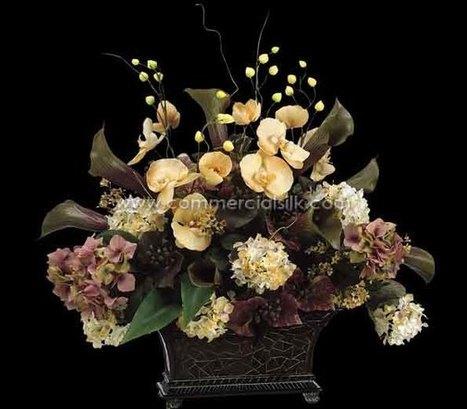 "Artificial Flower Arrangement w/ Hydrangea, Calla Lily, Phalaenopsis, Berry Silk Flowers - 25"" - Commercial Silk Int'l | Home Improvement - Landscaping | Scoop.it"