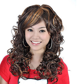 High Quality Capless Long Synthetic Dark Brown With Golden Brown Curly Hair Wig – WigSuperDeal.com   African American Wigs   Scoop.it