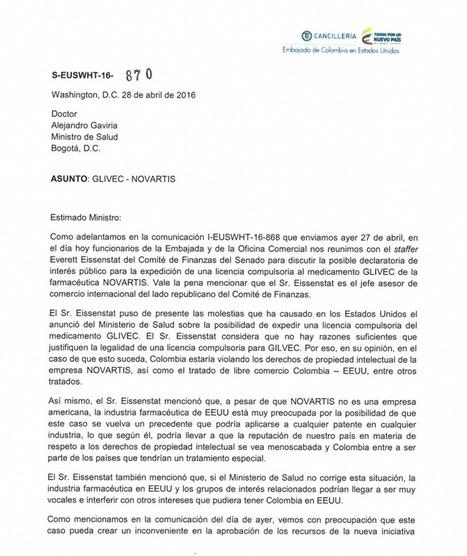EEUU AMENAZA A COLOMBIA POR QUERER REBAJAR EL PRECIO DE UN MEDICAMENTO CONTRA EL CÁNCER | EL VIL METAL. | Scoop.it