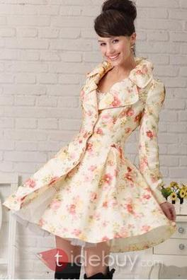 Korean Slim Rose Long Sleeve Trench Coat   the fashion clothes shoes dress bags   Scoop.it