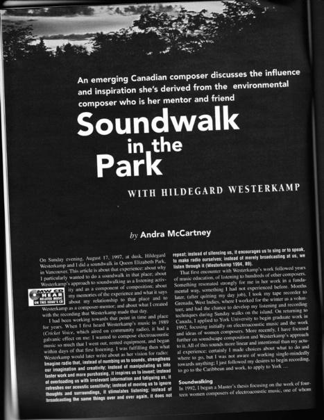 Soundwalk in the Park with Hildegard Westerkamp, Musicworks 1998 | DESARTSONNANTS - CRÉATION SONORE ET ENVIRONNEMENT - ENVIRONMENTAL SOUND ART - PAYSAGES ET ECOLOGIE SONORE | Scoop.it