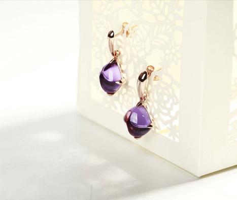 Pretty Purple Gemstone Crystal Earrings | Women's Earrings | Scoop.it