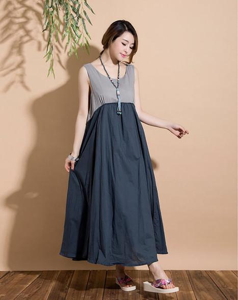 Dark blue stitching sleeveless vest casual Maxi Dress | Ladies Fashion | Scoop.it