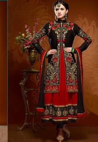 Black And Maroon Georgette Chuddidar Kameez with Dupatta SRT2861 - Salwar Kameez | Desi Butik | Online Sarees shopping Store in India | Scoop.it