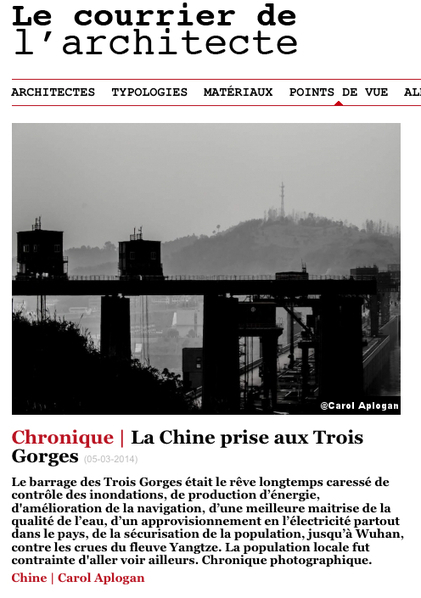 Le Courrier de l'Architecte publie la chronique de Carol Aplogan  I  La Chine prise aux Trois Gorges | Architecture Urban Design | Scoop.it