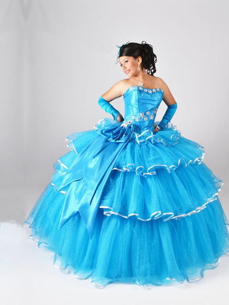 BallGown Strapless Tulle Satin Floor-length Blue Appliques Quinceanera Dress at sweetquinceaneradress.com | PUFFY QUINCEANERA DRESSES | Scoop.it