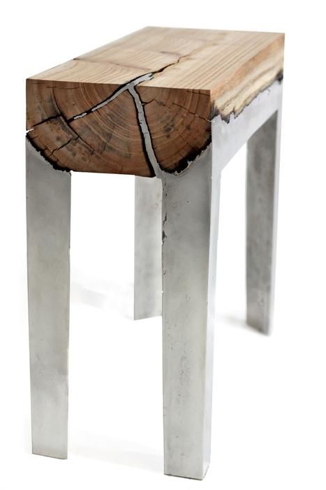 "La pièce de bois quasi brute sert de support à la coulée d'aluminium : ""wood casting"" par Hilla Shamia (via designboom) | inoow design lab | Scoop.it"