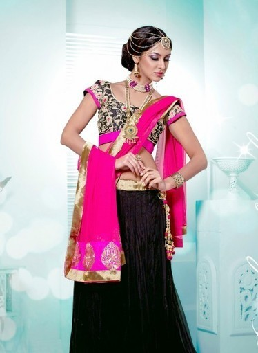Shop online this Attractive Black Lehnga Choli with Dangler & Resham work   Bridal Lehengas   Scoop.it