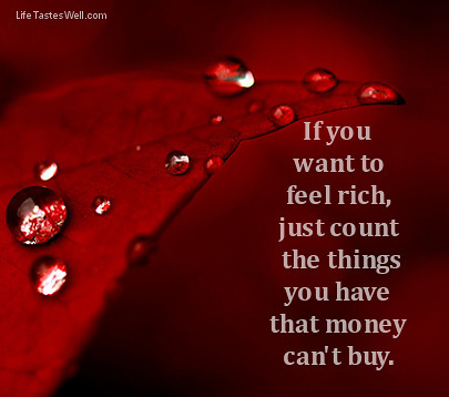 If you want to feel rich, just count the things you have that money can't buy. | pictures | Scoop.it
