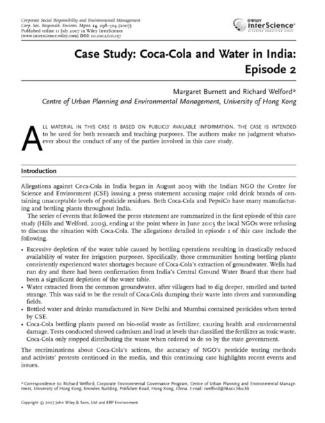 Case study: Coca-Cola and water in India: episode 2 - Burnett - 2007 - Corporate Social Responsibility and Environmental Management - Wiley Online Library | Corporate Ecosystem Services | Scoop.it
