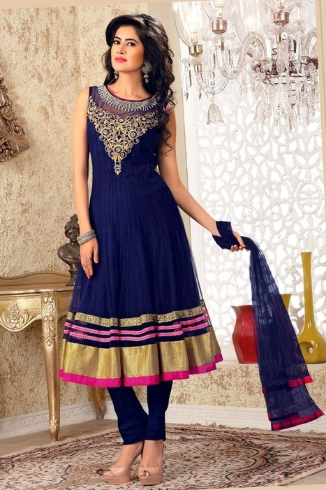 Gravity Fashion - Ready Made Sparkling Navy Blue Salwar Kameez | If loving Fashion is a Crime, We Plead Guilty | Scoop.it