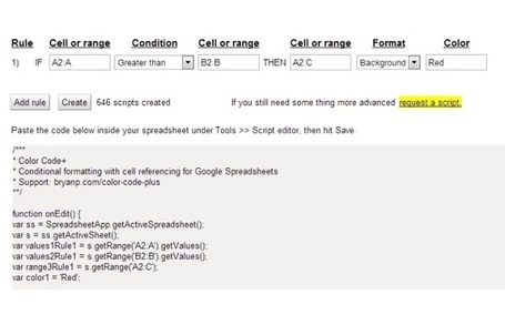 Color Code+ gives you the ability to reference cells when applying conditional formatting in Google Spreadsheets. | Google Apps Script | Scoop.it