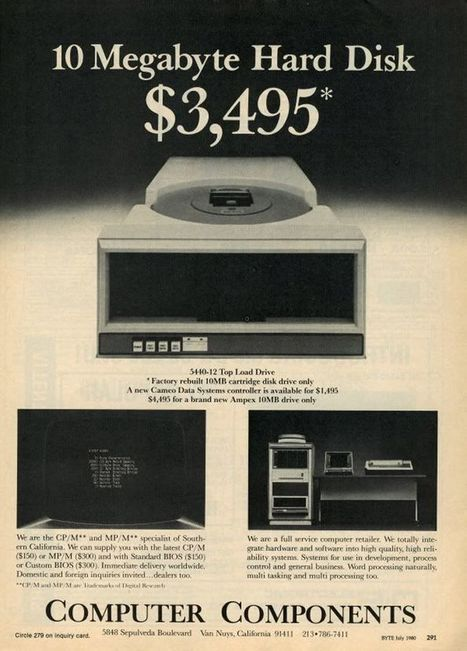 July 1980: 10MB Hard Drive: $3,495 | Topics in History | Scoop.it