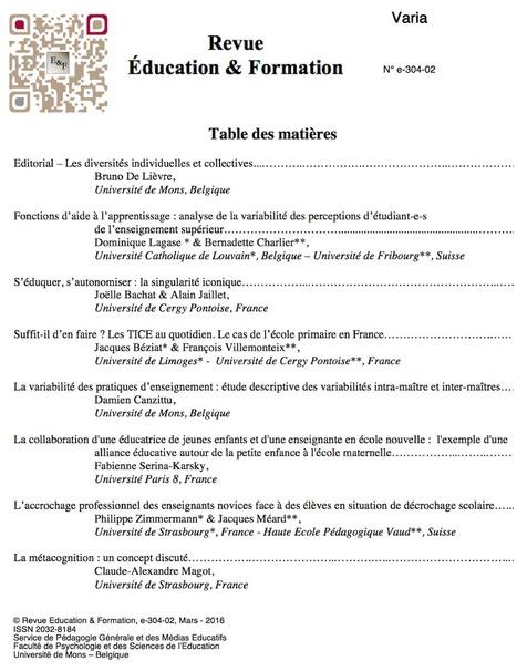Education & Formation : Les articles du n° e-304-02 (varia) | Revue Education & Formation | Scoop.it