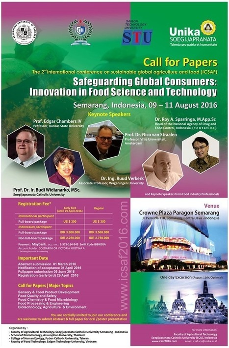 The 2nd International Conference on Sustainable Global Agriculture and Food (ICSAF) | Unika Soegijapranata Website | Environment & Ecology | Scoop.it