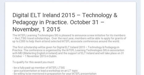 Digital ELT Ireland 2015 – Technology & Pedagogy in Practice. October 31 – November, 1 2015 | English Language Teaching | Scoop.it