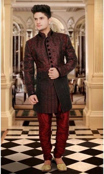 Dark Red Wine and Saddle Brown Banarasi Silk Readymade Sherwani | fashionheena.com | Scoop.it
