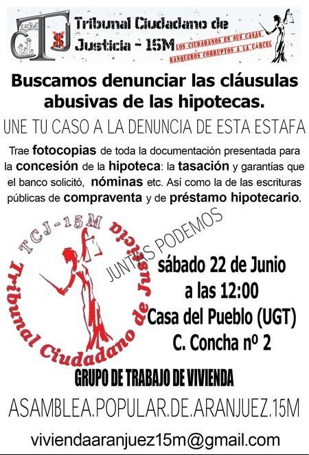 Tribunal Ciudadano de Justicia en Aranjuez | TRIBUNAL CIUDADANO DE JUSTICIA 15M (TCJ) | Scoop.it