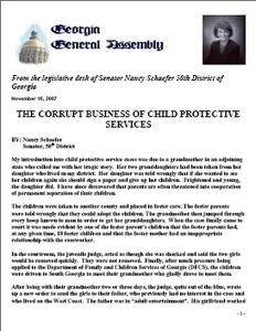 Report of Georgia Senator Nancy Schaefer on CPS Corruption